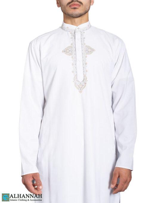 Embroidered Traditional White Kurta Pajama Suit me825