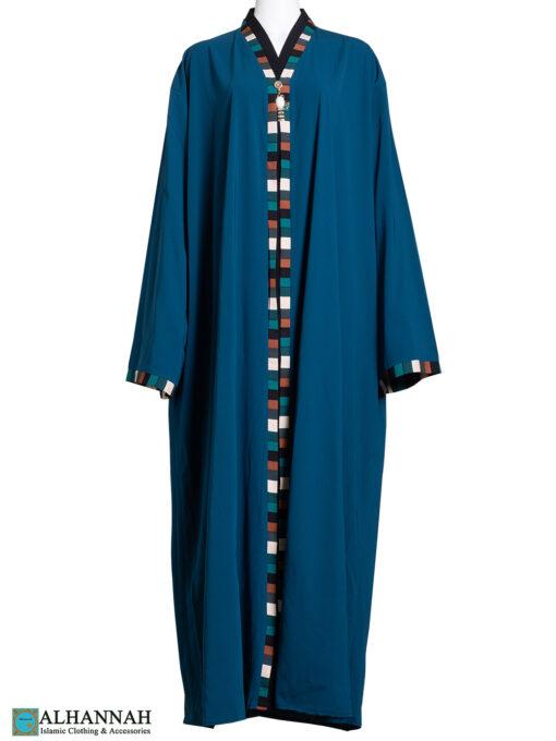 Ethnic Trim Abaya in French Blue ab784 (1)