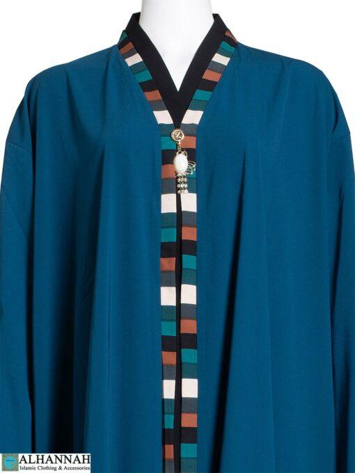 Ethnic Trim Abaya in French Blue ab784