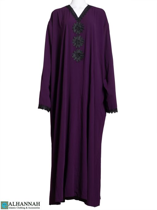 Floral Applique Purple Abaya ab799
