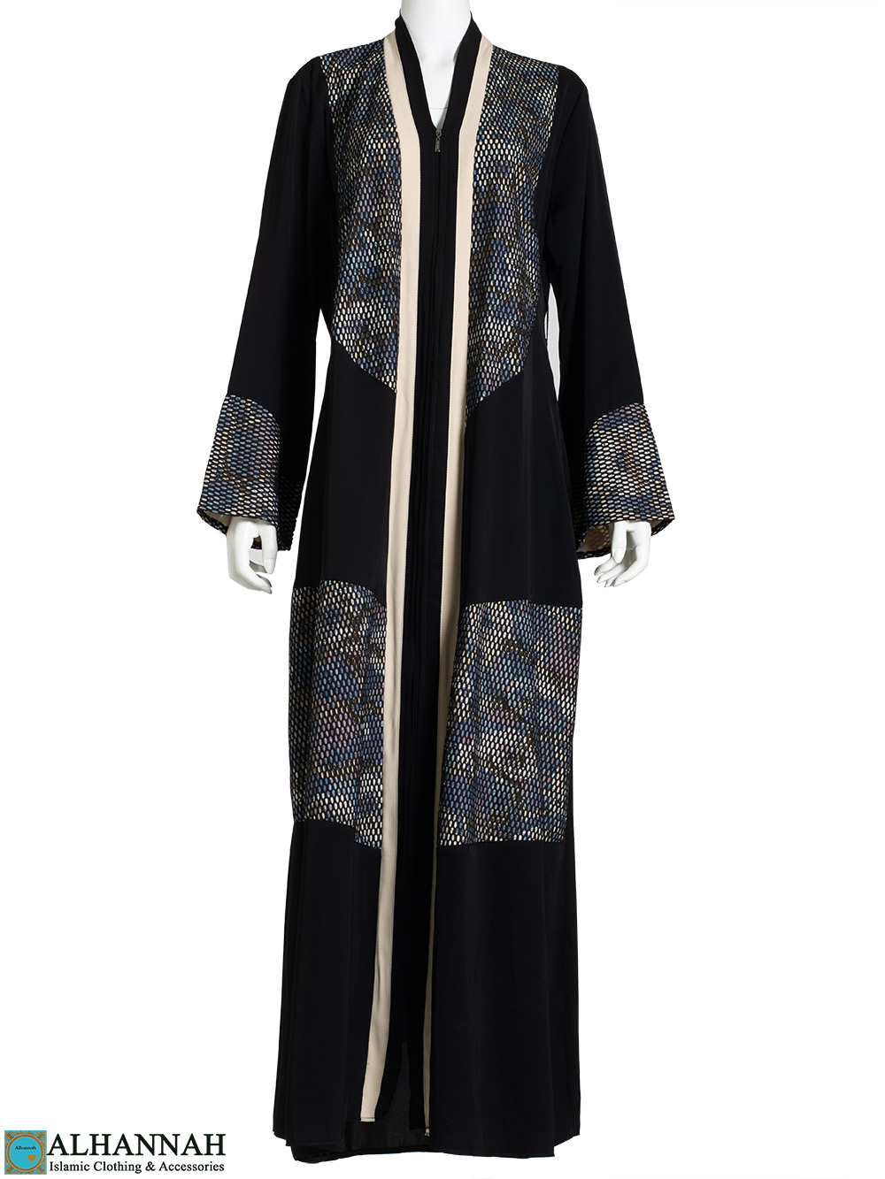 Floral Knit with Vanilla Trim Black Abaya ab796