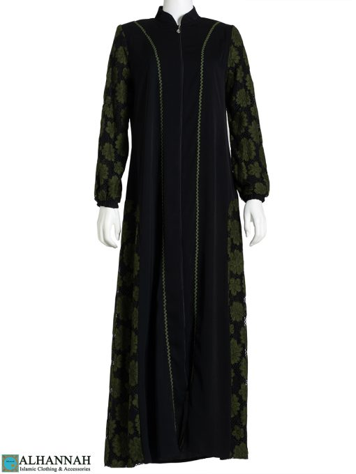 Floral Lace Accent Moss Abaya ab782