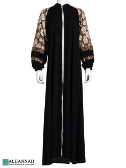 Floral Lace Embroidered Sleeves Black Abaya ab777