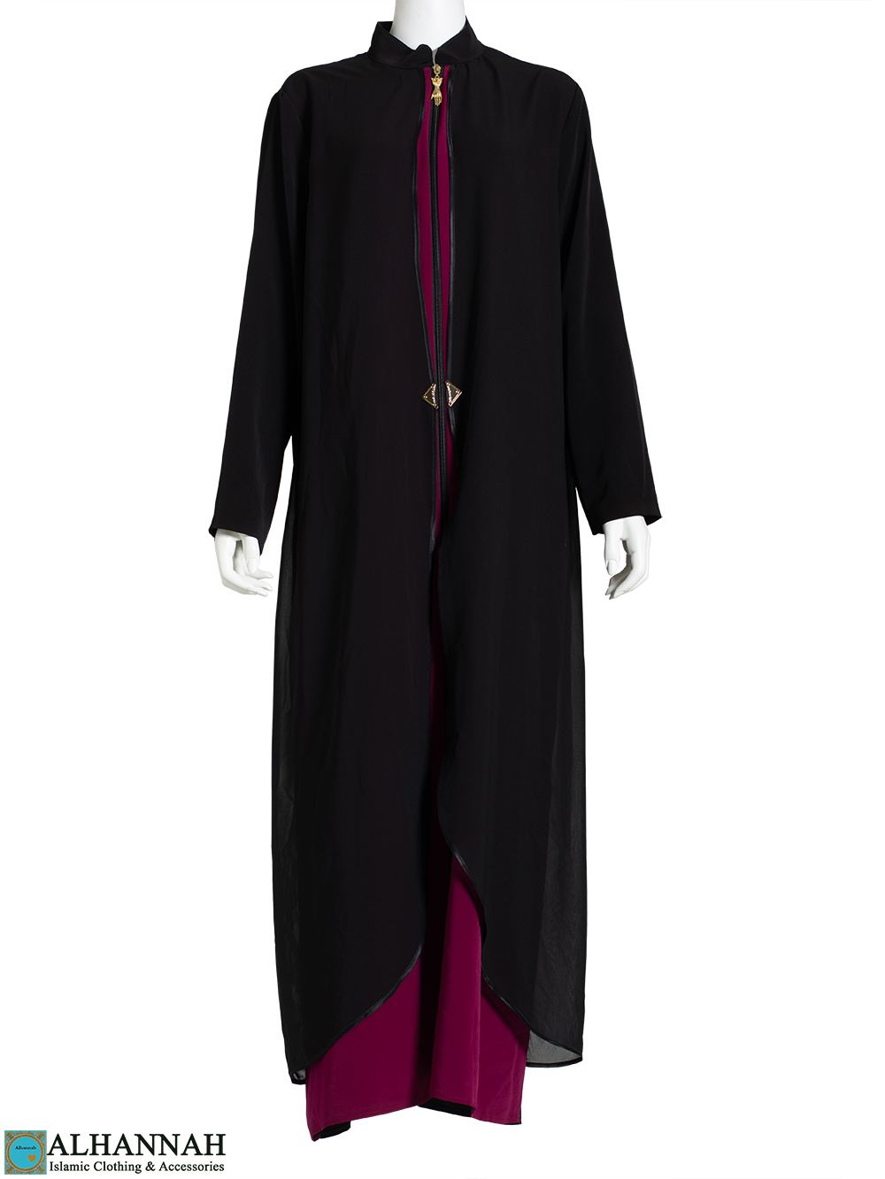 Flowy Layered Duotone Black Abaya ab787