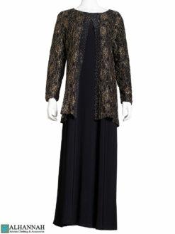 Gold Floral Lace Black Abaya ab785