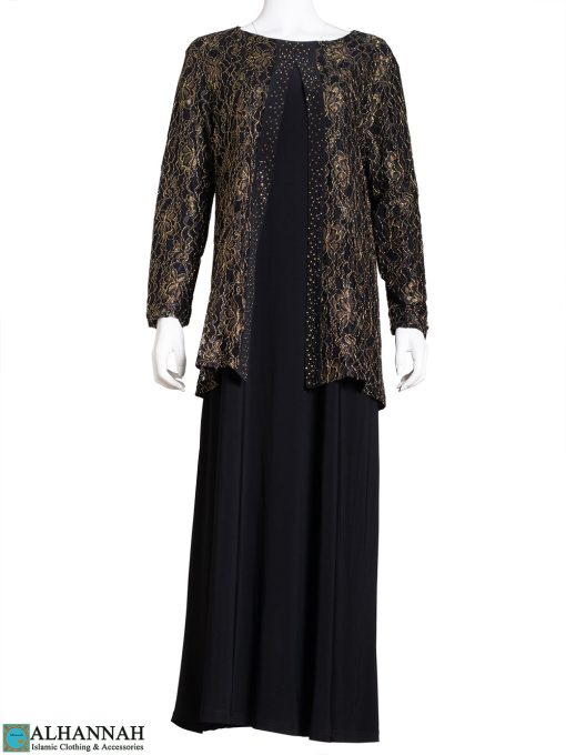 Gold Floral Lace Black Abaya ab785