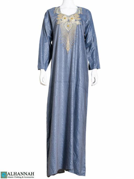 Golden Embroidered Blue Leaved Jacquard Abaya ab809