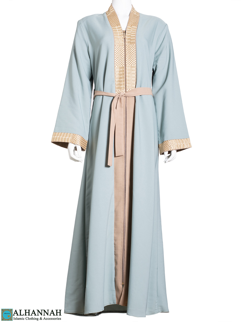 Golden-Embroidery Lined Sage Abaya ab773