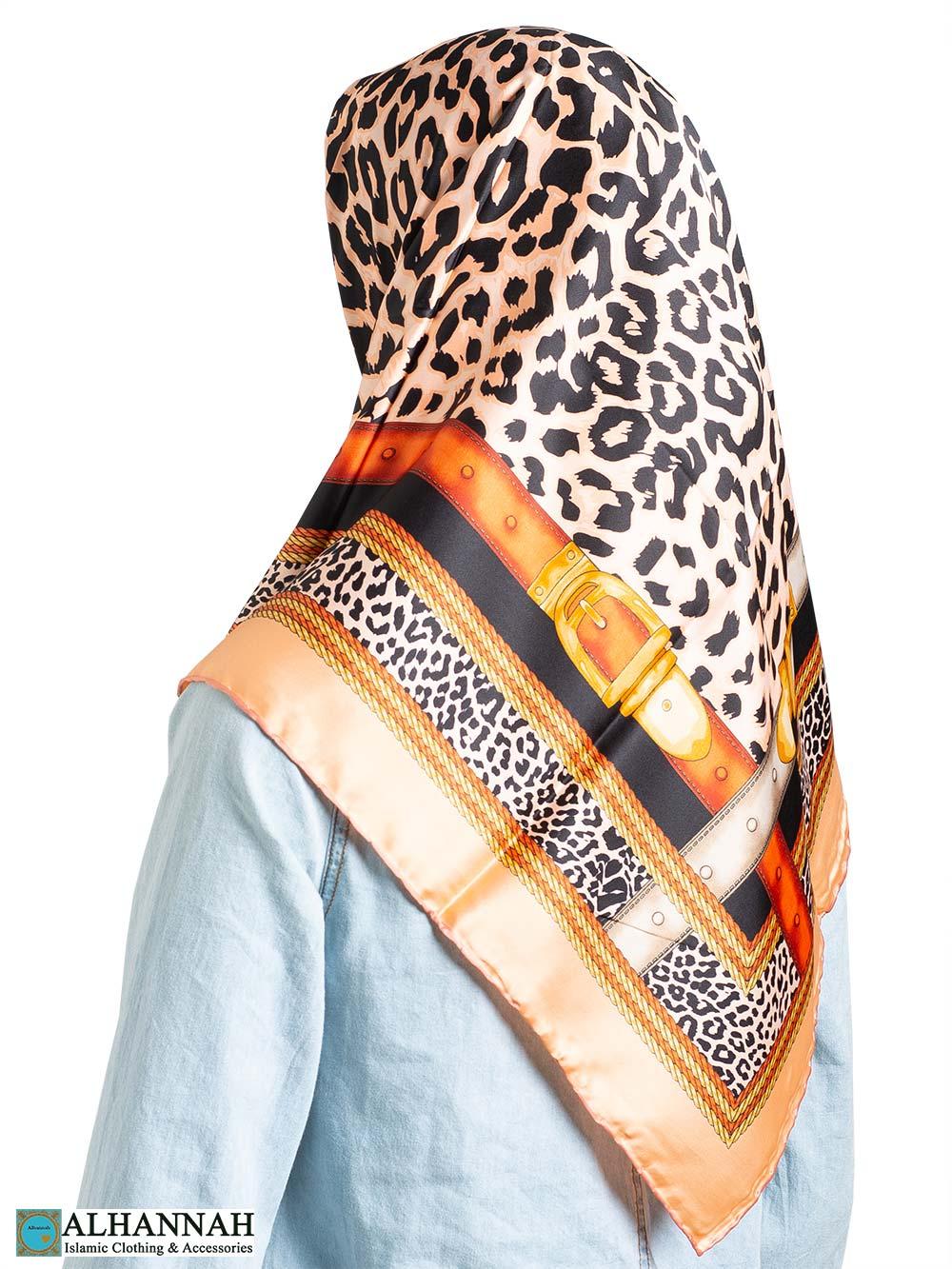Golden Leopard Strap Turkish Square Hijab hi2325