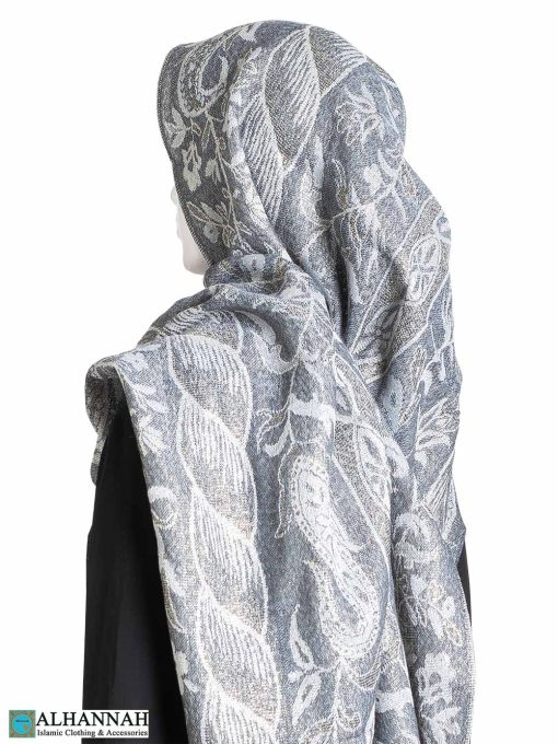 Gray Floral Tapestry Large Shayla Hijab hi2299