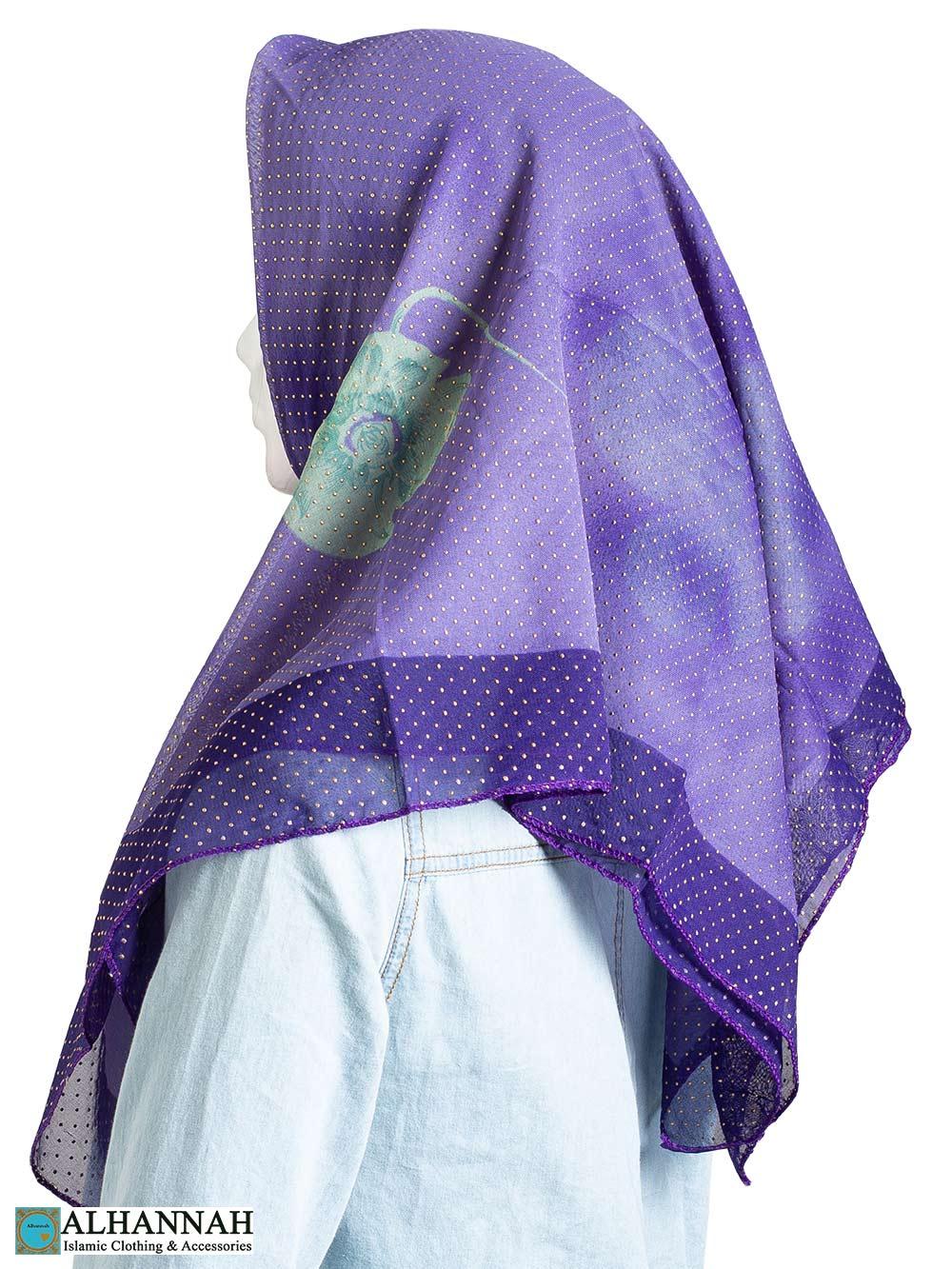 Hibiscus Beaded Square Hijab hi2326