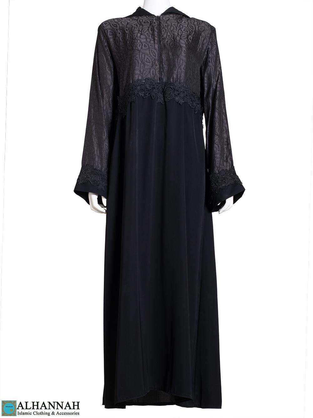 Hooded Rose Lace Jacquard Abaya ab806