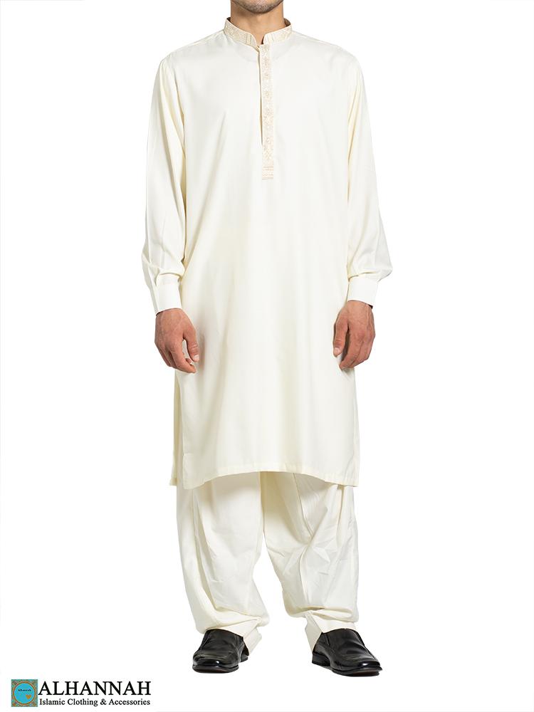 Huma Embroidered Ivory Salwar Kameez me813