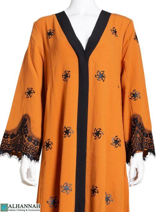 Lace-Trim-Abaya-in-Pumpkin-Closeup ab813