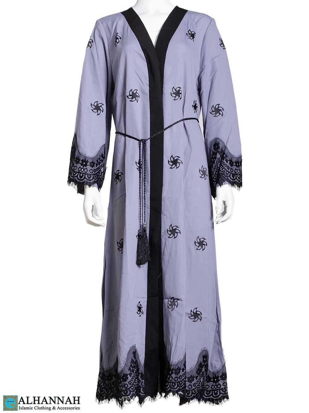Lace Wrap Abaya in Slate ab814