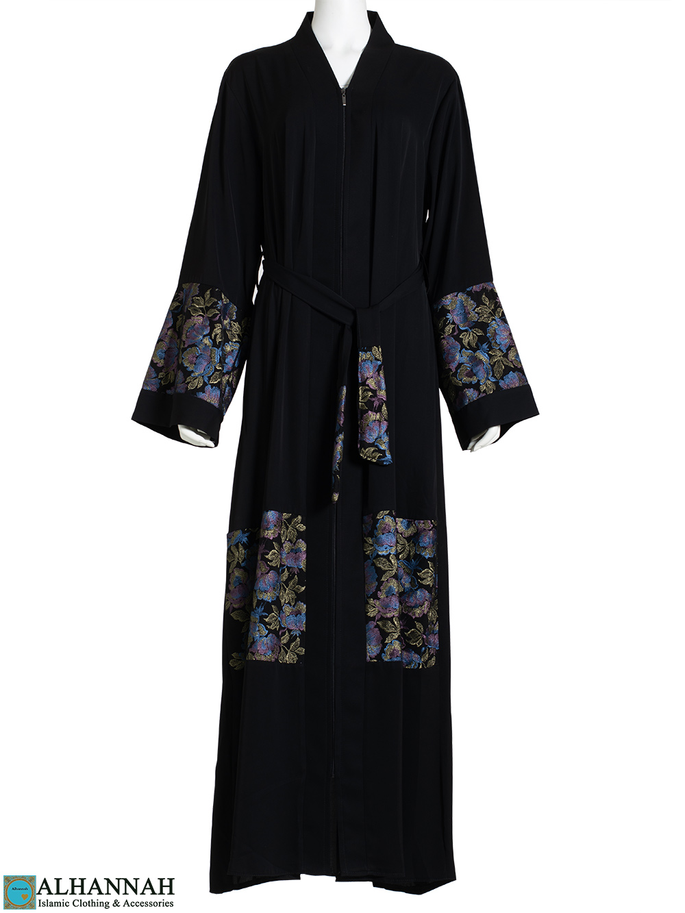 Laced Violet Floral Embroidered Black Abaya ab790