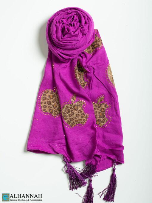 Leopard Apple Tasseled Shayla Hijab hi2302