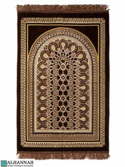 Prayer Rug with Geometric Symmetry Pattern in Brown