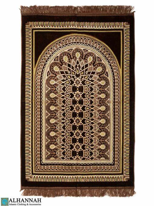Prayer Rug with Geometric Symmetry Pattern in Brown