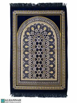 Prayer Rug with Geometric Symmetry Pattern in Navy