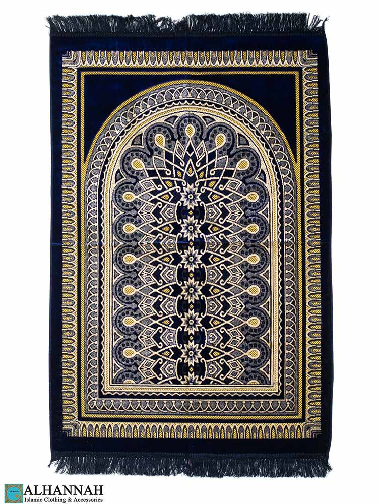 Prayer Rug with Geometric Symmetry Pattern in Navy