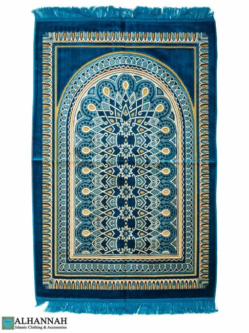 Prayer Rug with Geometric Symmetry Pattern in Turquoise