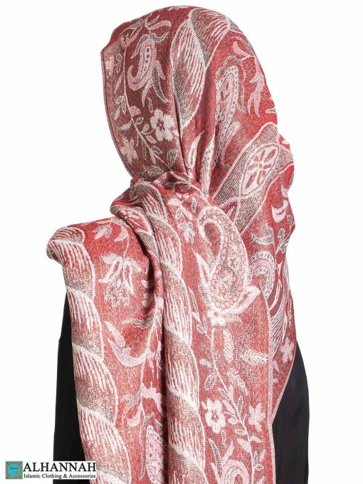 Red Floral Tapestry Large Shayla Hijab hi2298