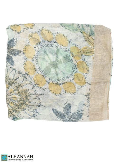 Shayla Wrap Hijab Pastel Watercolors Almond