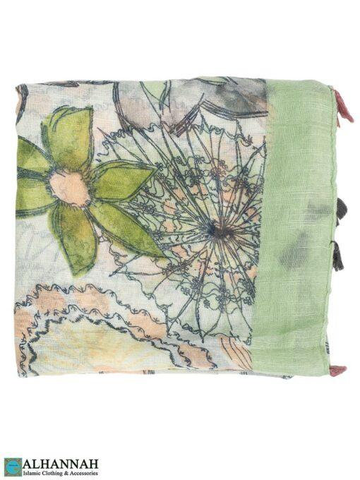 Shayla Wrap Hijab Pastel Watercolors Clover