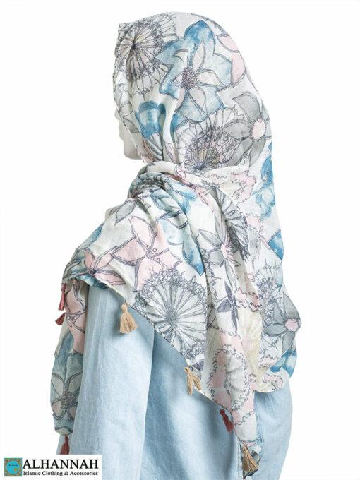 Shayla Wrap Hijab Pastel Watercolors No Border