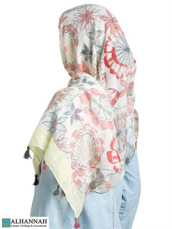 Shayla Wrap Hijab Pastel Watercolors Shown in Lemon