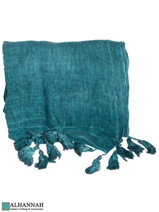 Shayla Wrap Hijab with Tassels -Aqua
