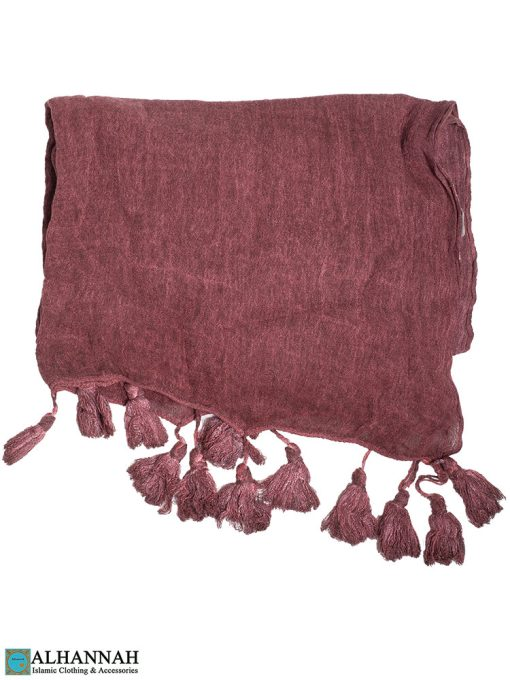Shayla Wrap Hijab with Tassels -Candied Plum