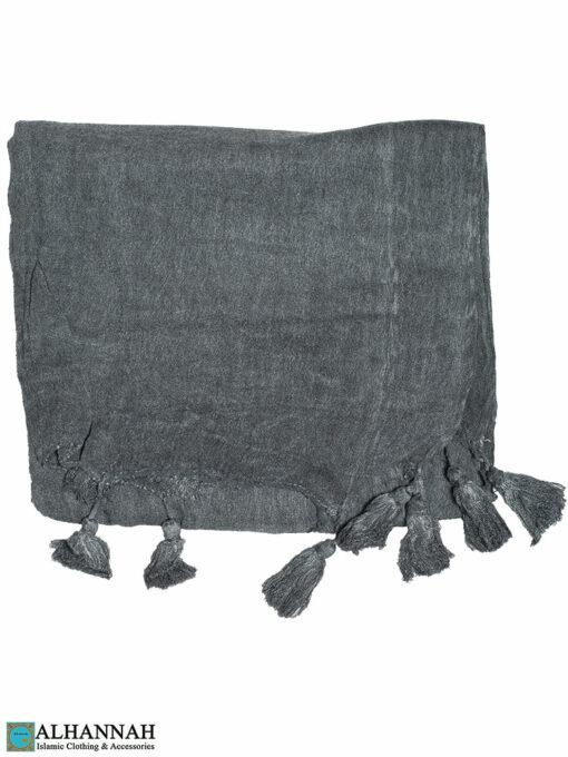 Shayla Wrap Hijab with Tassels -Charcoal