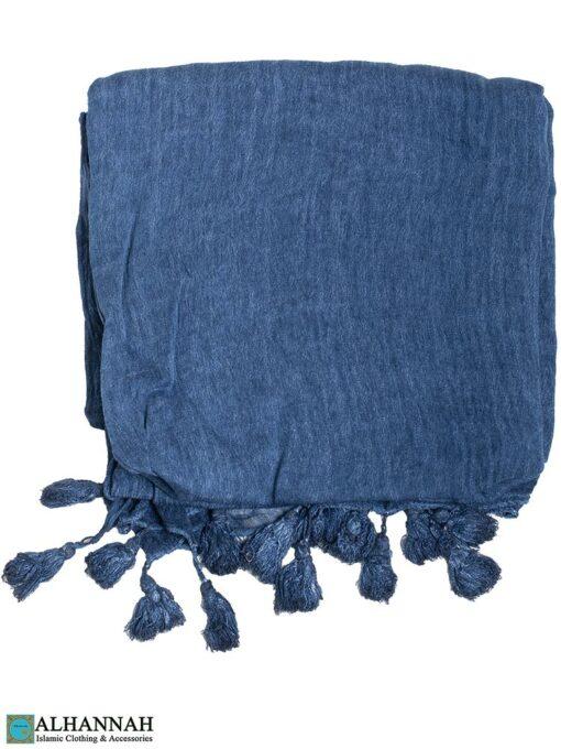 Shayla Wrap Hijab with Tassels -French blue