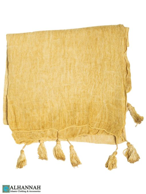 Shayla Wrap Hijab with Tassels -Gold