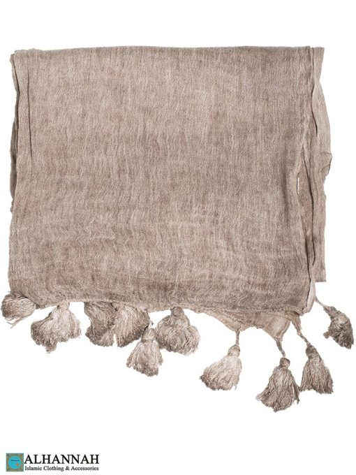 Shayla Wrap Hijab with Tassels -Toasted Almond