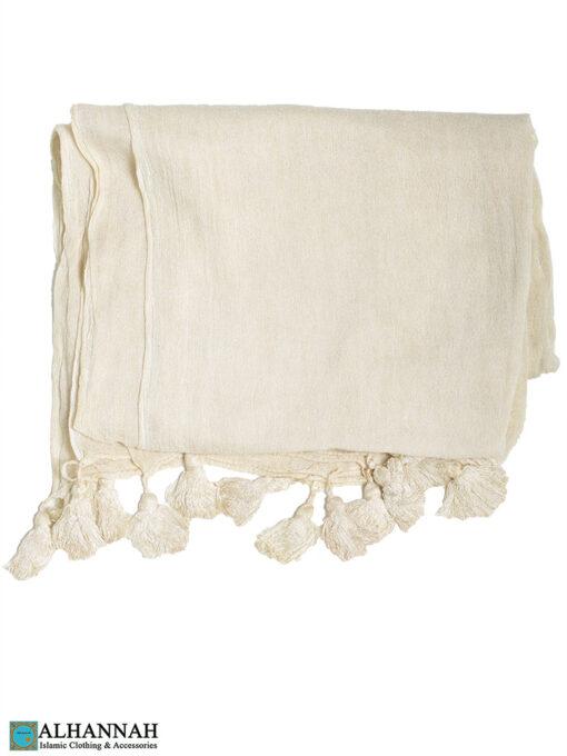 Shayla Wrap Hijab with Tassels -Vanilla