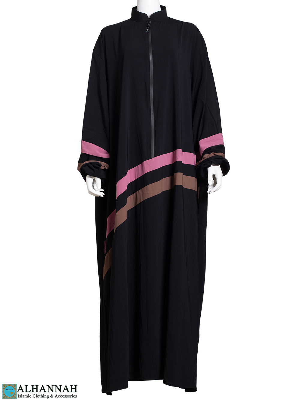 Striped Abaya with Zipper Opening in Black ab803