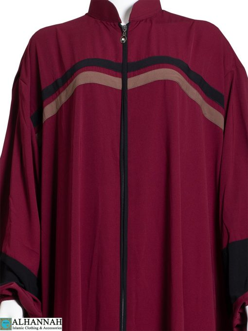 Striped-Abaya-with-Zipper-Opening-in-Maroon-Close-Up ab796
