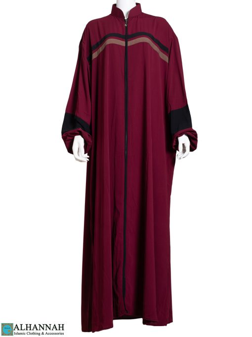 Striped Abaya with Zipper Opening in Maroon ab796