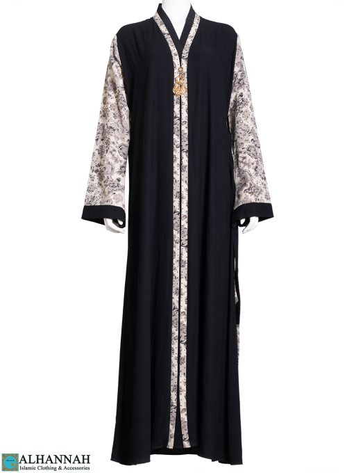 Tan-Rose Rhinestone Black Abaya with Brooch ab771