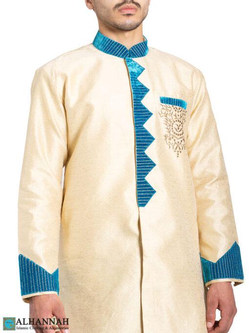 Vanilla Blue Zari Vine Jacquard & Velvet Salwar Kameez me822