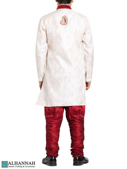 Vanilla with Red Accent Paisley Jacquard & Velvet Salwar Kameez me823