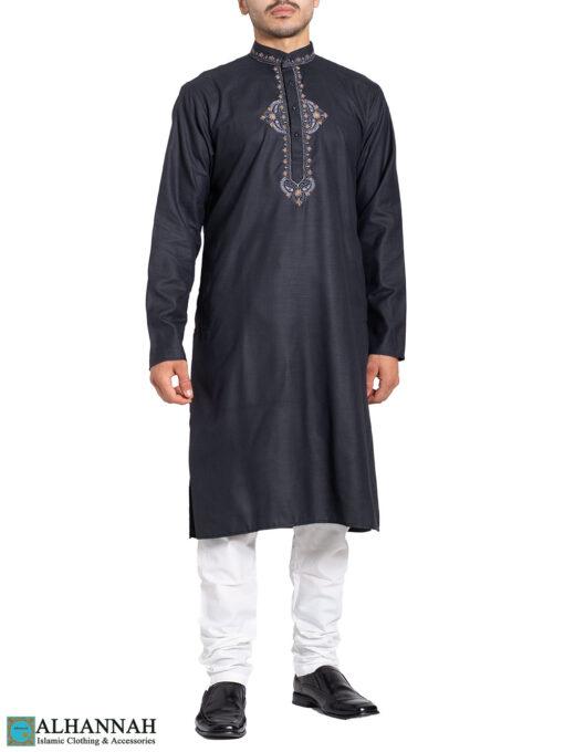 Embroidered Traditional Black Kurta Pajama Suit me824