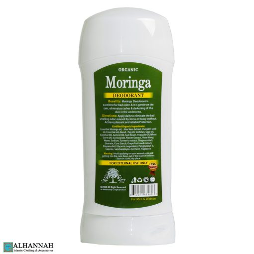 Halal Moringa Deodorant Ingredients - Back