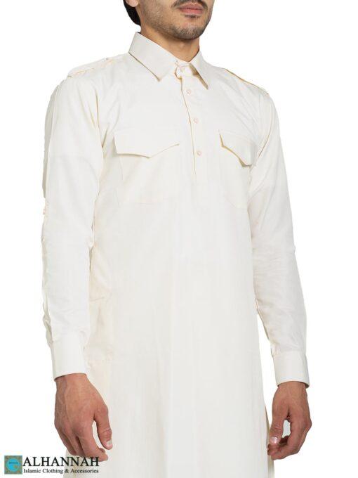 Ivory Salwar Kameez with Shoulder Buttons me828