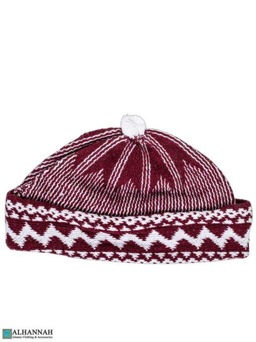 Muslim Wool Blend Knit Cap - Maroon