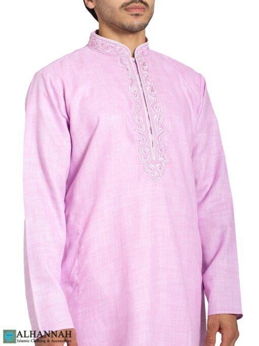 Pink Embroidered Linen Salwar Kameez me830