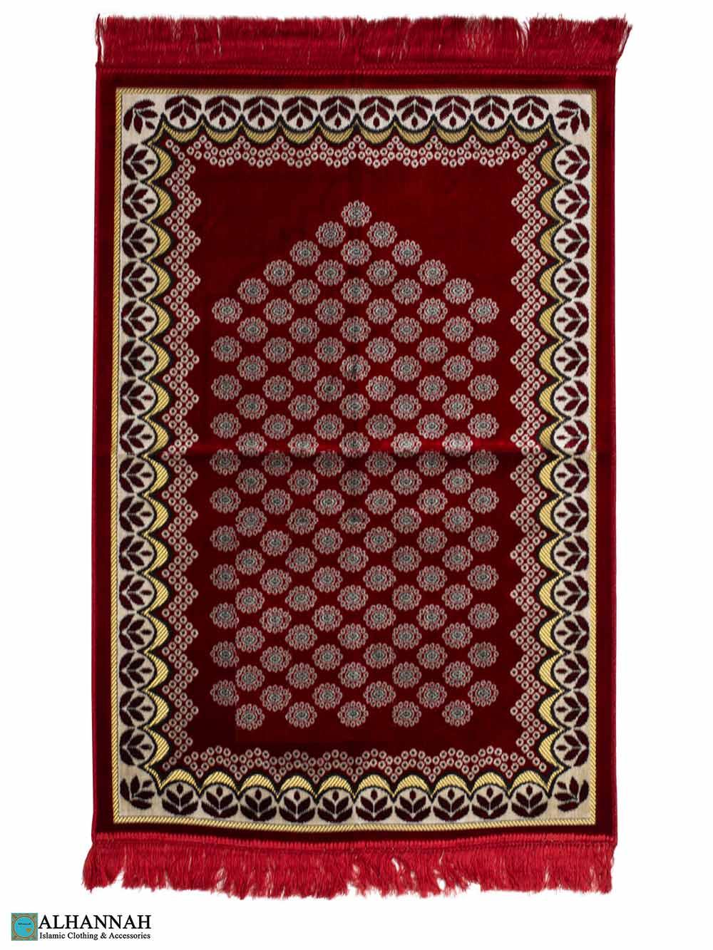 Prayer Rug with Foliage Border - Red